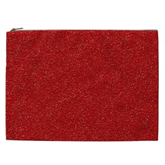 Festive Red Glitter Texture Cosmetic Bag (xxl)  by yoursparklingshop