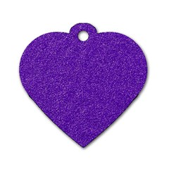 Festive Purple Glitter Texture Dog Tag Heart (one Side) by yoursparklingshop