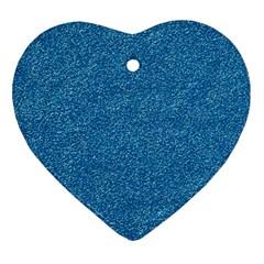 Festive Blue Glitter Texture Ornament (heart)  by yoursparklingshop
