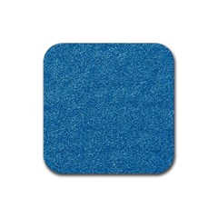 Festive Blue Glitter Texture Rubber Square Coaster (4 Pack)  by yoursparklingshop