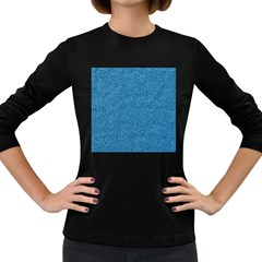 Festive Blue Glitter Texture Women s Long Sleeve Dark T Shirts by yoursparklingshop