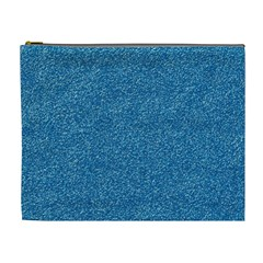 Festive Blue Glitter Texture Cosmetic Bag (xl) by yoursparklingshop