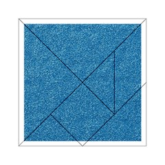Festive Blue Glitter Texture Acrylic Tangram Puzzle (6  X 6 ) by yoursparklingshop