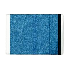Festive Blue Glitter Texture Apple Ipad Mini Flip Case by yoursparklingshop