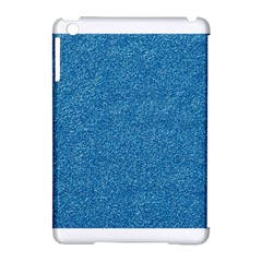 Festive Blue Glitter Texture Apple Ipad Mini Hardshell Case (compatible With Smart Cover) by yoursparklingshop