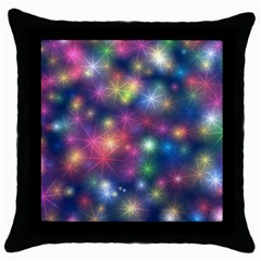 Starlight Shiny Glitter Stars Throw Pillow Case (black) by yoursparklingshop