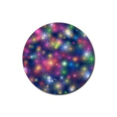 Starlight Shiny Glitter Stars Rubber Round Coaster (4 Pack)  by yoursparklingshop