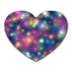 Starlight Shiny Glitter Stars Heart Mousepads by yoursparklingshop