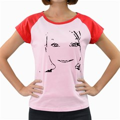 Portrait Black And White Girl Women s Cap Sleeve T Shirt by yoursparklingshop