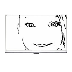 Portrait Black And White Girl Business Card Holders by yoursparklingshop