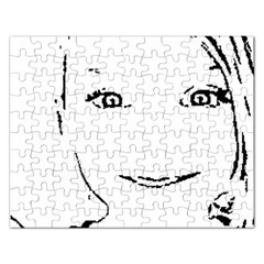 Portrait Black And White Girl Rectangular Jigsaw Puzzl by yoursparklingshop
