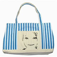 Portrait Black And White Girl Striped Blue Tote Bag by yoursparklingshop