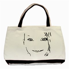 Portrait Black And White Girl Basic Tote Bag (two Sides) by yoursparklingshop
