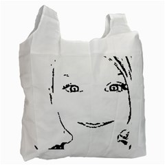 Portrait Black And White Girl Recycle Bag (one Side) by yoursparklingshop