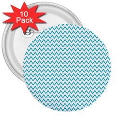 Blue White Chevron 3  Buttons (10 Pack)  by yoursparklingshop