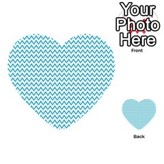 Blue White Chevron Multi Purpose Cards (heart)  by yoursparklingshop