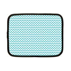 Blue White Chevron Netbook Case (small)  by yoursparklingshop