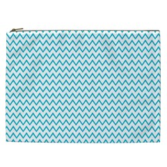Blue White Chevron Cosmetic Bag (xxl)  by yoursparklingshop