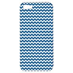 Dark Blue White Chevron  Apple Iphone 5 Hardshell Case by yoursparklingshop