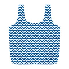 Dark Blue White Chevron  Full Print Recycle Bags (l)  by yoursparklingshop