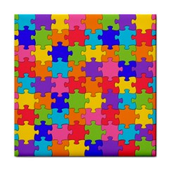 Funny Colorful Puzzle Pieces Tile Coasters by yoursparklingshop