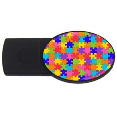 Funny Colorful Puzzle Pieces Usb Flash Drive Oval (2 Gb)  by yoursparklingshop