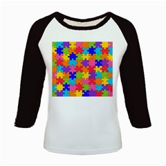 Funny Colorful Puzzle Pieces Kids Baseball Jerseys by yoursparklingshop