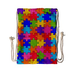 Funny Colorful Puzzle Pieces Drawstring Bag (small) by yoursparklingshop