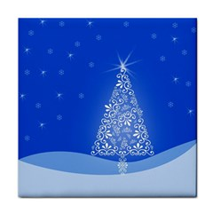 Blue White Christmas Tree Tile Coasters by yoursparklingshop