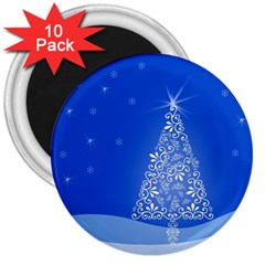 Blue White Christmas Tree 3  Magnets (10 Pack)  by yoursparklingshop