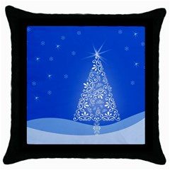 Blue White Christmas Tree Throw Pillow Case (black) by yoursparklingshop