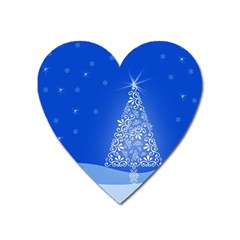 Blue White Christmas Tree Heart Magnet by yoursparklingshop