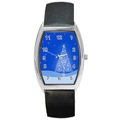 Blue White Christmas Tree Barrel Style Metal Watch by yoursparklingshop