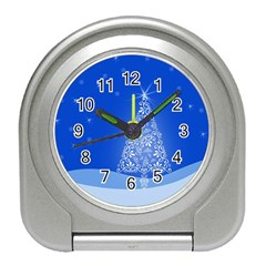 Blue White Christmas Tree Travel Alarm Clocks by yoursparklingshop