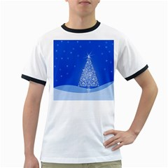 Blue White Christmas Tree Ringer T Shirts by yoursparklingshop