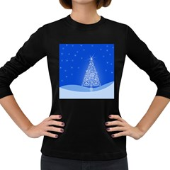 Blue White Christmas Tree Women s Long Sleeve Dark T Shirts by yoursparklingshop