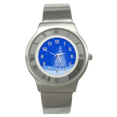 Blue White Christmas Tree Stainless Steel Watch by yoursparklingshop