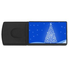 Blue White Christmas Tree Usb Flash Drive Rectangular (4 Gb)  by yoursparklingshop
