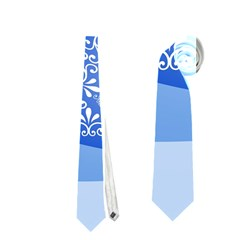 Blue White Christmas Tree Neckties (one Side)  by yoursparklingshop
