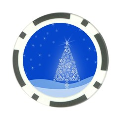 Blue White Christmas Tree Poker Chip Card Guards by yoursparklingshop