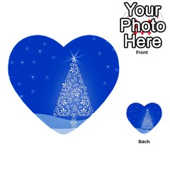 Blue White Christmas Tree Multi Purpose Cards (heart)  by yoursparklingshop