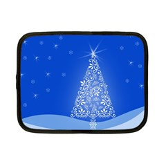 Blue White Christmas Tree Netbook Case (small)  by yoursparklingshop