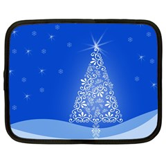 Blue White Christmas Tree Netbook Case (large) by yoursparklingshop