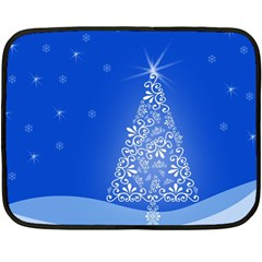 Blue White Christmas Tree Double Sided Fleece Blanket (mini)  by yoursparklingshop
