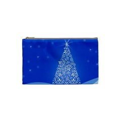 Blue White Christmas Tree Cosmetic Bag (small)  by yoursparklingshop