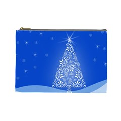 Blue White Christmas Tree Cosmetic Bag (large)  by yoursparklingshop