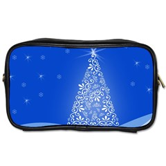 Blue White Christmas Tree Toiletries Bags 2 Side by yoursparklingshop