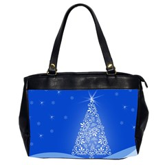Blue White Christmas Tree Office Handbags (2 Sides)  by yoursparklingshop