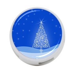 Blue White Christmas Tree 4 Port Usb Hub (one Side) by yoursparklingshop