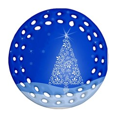 Blue White Christmas Tree Ornament (round Filigree)  by yoursparklingshop
